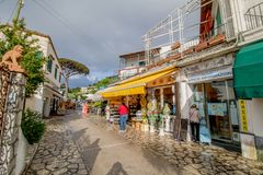 Via Giuseppe Orlandi in Anacapri on the island of Capri royalty free stock images