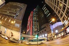 2016: via in Hong Kong alla notte Fotografie Stock