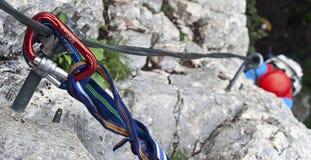 Via il ferrata impostato su una roccia Fotografie Stock