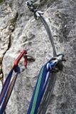 Via il ferrata impostato su una roccia Immagine Stock