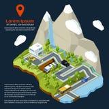 Via isometrica di vettore Elementi urbani sulla mappa 3d Case differenti messe e strade illustrazione di stock