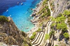 Via Krupp - Capri, Italië Royalty-vrije Stock Afbeeldingen