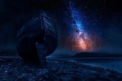 Via Látea e destruição abandonada do navio em Fort William, Escócia Imagem de Stock Royalty Free