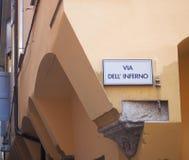 Via l'inferno del dell (via dell'inferno) a Bologna fotografie stock