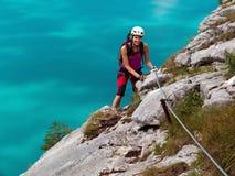 Via la scalata del klettersteig di Ferrata/ Fotografie Stock Libere da Diritti