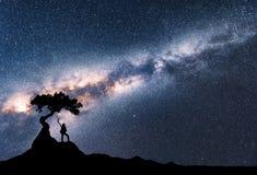 Via Lattea e siluetta della donna sotto l'albero immagini stock