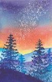 Via Lattea nel paesaggio blu delle montagne della foresta illustrazione di stock