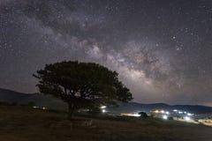 Via Lattea sopra l'isola di Naxos Grecia Fotografie Stock Libere da Diritti