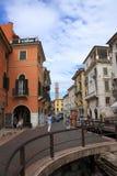 Via Leonie verona. Via leoni with ruin of porta leonie Royalty Free Stock Photos