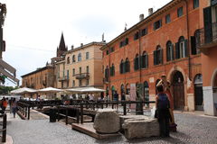 Via Leonie verona. Via leoni with ruin of porta leonie Stock Photos