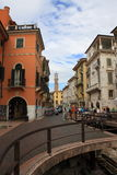 Via Leonie verona. Via leoni with ruin of porta leonie Royalty Free Stock Photo