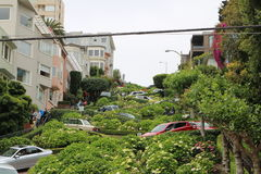 Via lombarda sulla collina russa San Francisco, California Fotografie Stock Libere da Diritti
