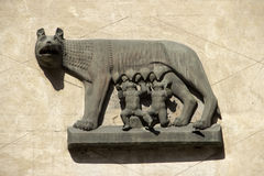 Via Mazzini in Verona, representation of Romulus and Remus Stock Images