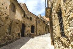 Via medievale in Catalogna Immagini Stock