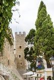 Via medievale nella vecchia città di Sitges, Spagna Fotografia Stock Libera da Diritti