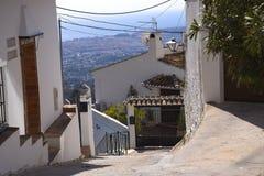 Via a Mijas nelle montagne sopra Costa del Sol in Spagna Immagini Stock Libere da Diritti