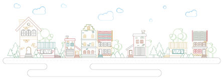 Via moderna del profilo di tendenza di architettura delle costruzioni e delle case a colori Immagini Stock