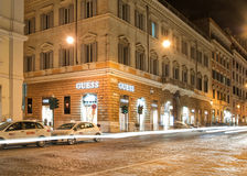 Via Nazionale by night, Rome, Italy Royalty Free Stock Photo