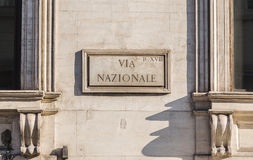 Via Nazionale Sign in Rome during the day Stock Photo