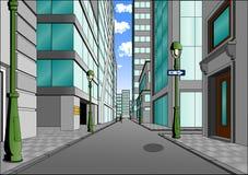 Via nel centro urbano Fotografia Stock