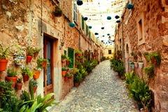 Via nel villaggio di Valldemossa Fotografia Stock