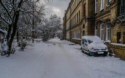 Via nell'inverno Immagini Stock Libere da Diritti
