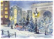 Via nella neve e nelle luci intense illustrazione di stock
