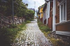 Via nella vecchia città di Porvoo fotografia stock