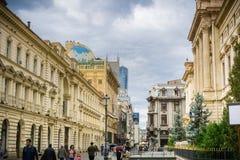Via nella vecchia parte della città della città, Bucarest immagine stock