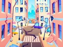Via nociva della citt? Il danno di terremoto, cataclisma danneggia la distruzione della strada ed ha distrutto il vettore urbano  royalty illustrazione gratis