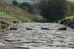 Via pavimentata romana antica con il passaggio pedonale Fotografia Stock Libera da Diritti