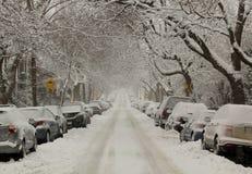 Via in pieno di neve Immagini Stock Libere da Diritti