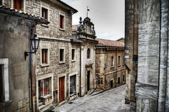 Via pittoresca a San Marino nel hdr Fotografia Stock