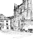 Via in Plzen Schizzo disegnato a mano Immagine Stock Libera da Diritti