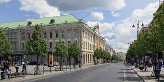Via principale della capitale lituana Immagine Stock Libera da Diritti