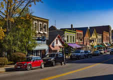 Via principale di Camden, Maine Fotografie Stock