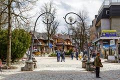 Via principale di Krupowki in Zakopane Fotografie Stock Libere da Diritti