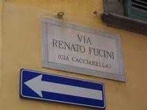 Via Renato Fucini Sign Arkivbilder