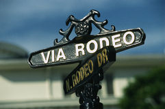 Via Rodeo street sign Stock Image