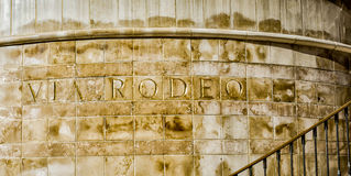 Via Rodeo Wall Engraving royalty free stock images