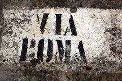 Via Roma. A street sign in Taormina, Sicily Stock Image