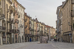 Via Roma in Cuneo. The Via Roma is the main artery of the old Cuneo Royalty Free Stock Photos