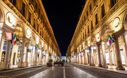 Via Roma, a street in the center of Turin Royalty Free Stock Photo