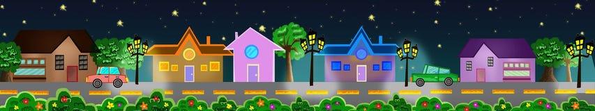 via romantica delle stelle di mare di notte accogliente delle case sotto Fotografia Stock