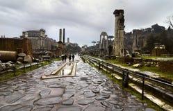 Via Sacra op het Forum Romanum Stock Foto's