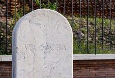 Via sacra street sign in Rome Italy Stock Photo