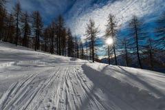 Via stretta con la traccia di alpinismo dello sci Immagini Stock