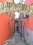 Via stretta e vecchi arché di pietra variopinti e del costruzione in vecchio piccolo villaggio Montemarcello in Liguria, Italia Immagini Stock