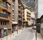 Via stretta in La Vella, Andorra dell'Andorra Fotografia Stock