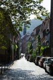 Via stretta nella città tedesca Heidelberg Fotografia Stock
